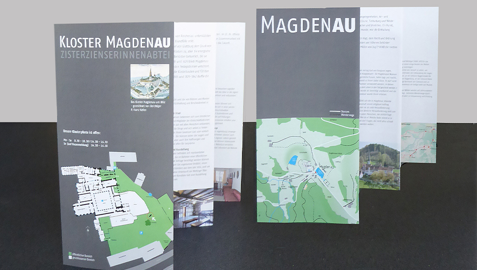 Doppelseitiger Flyer Magdenau: Gestaltung/Text analog Informationsstelen Kloster Magdenau und Weiler Magdenau